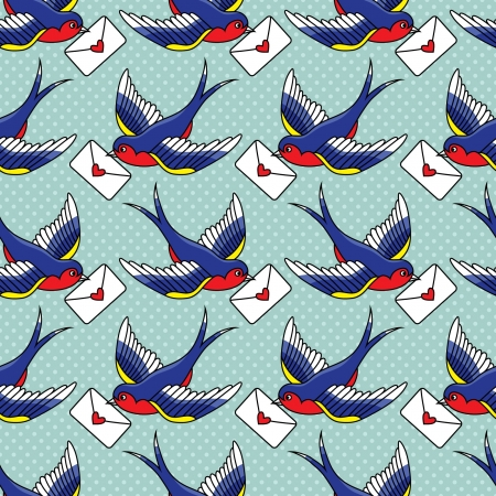 old school pattern with birds and letters Vector