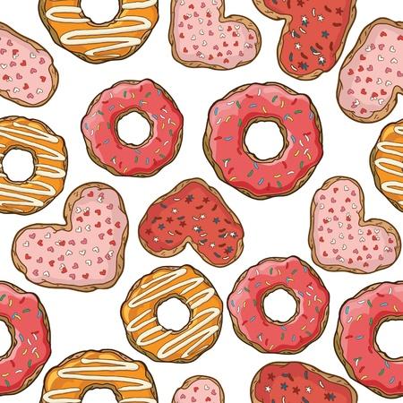 beignet: Seamless avec des beignets et des cookies Illustration