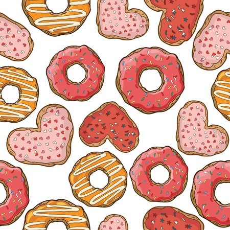 croissants: Seamless pattern with donuts and cookies Illustration