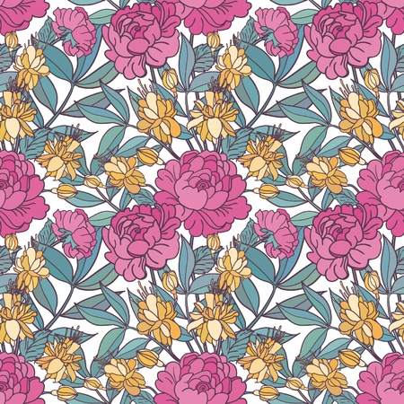 rose: Cute floral seamless pattern background
