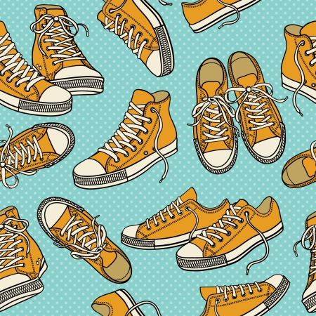 Seamless pattern with sneakers Stock Vector - 21253253