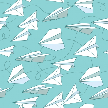 paper airplane: Paper planes seamless texture Illustration