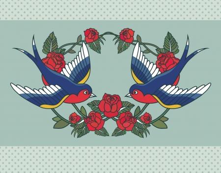 golondrina: Marco de la escuela vieja con rosas y aves