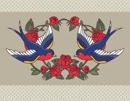 tragos: Marco de la escuela vieja con rosas y aves