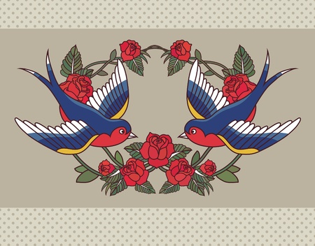 swallow bird: Old school frame with roses and birds