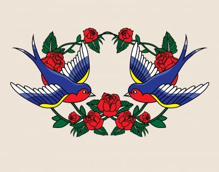 tatouage fleur: Ancien cadre de l'école avec des roses et des oiseaux