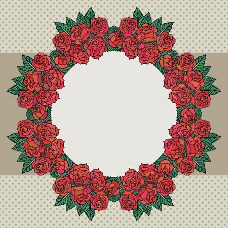 school frame: Old school frame with roses Illustration