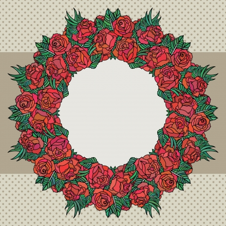 Old school frame with roses Vector