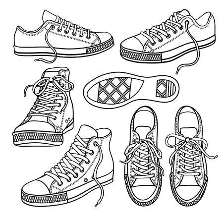set with yellow sneakers isolated on white Иллюстрация