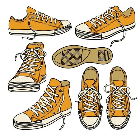 흰색에 고립 된 노란색 운동화로 설정 일러스트