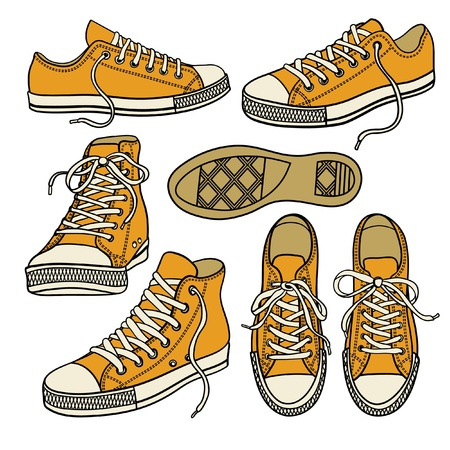 set with yellow sneakers isolated on white Ilustração