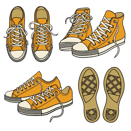 sport shoes: set with yellow sneakers isolated on white Illustration