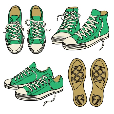 set with green sneakers isolated on white Vector