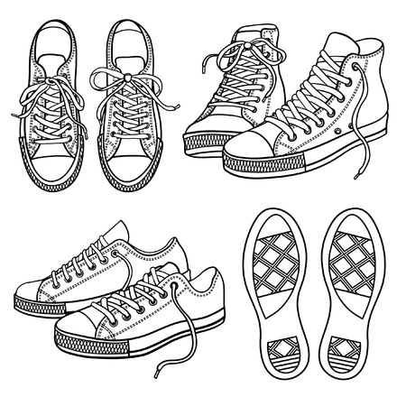 escarpines: conjunto con zapatillas aislados en blanco Vectores