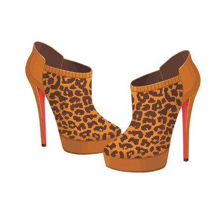 high heeled: beautiful vector leopard shoes isolated on white
