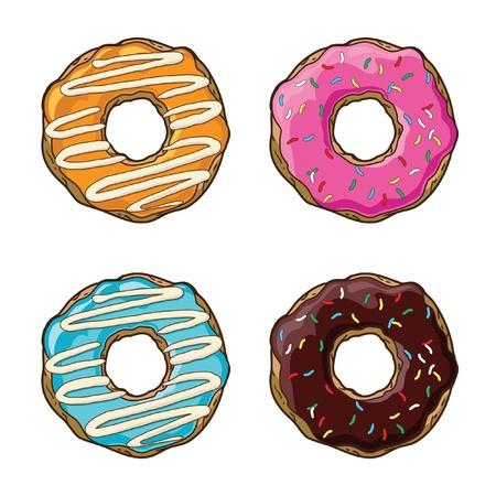 Vector set with donuts 矢量图片