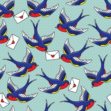 wind: old school pattern with birds and letters