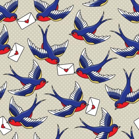 Modèle de la vieille école avec des oiseaux et des lettres Banque d'images - 21523928
