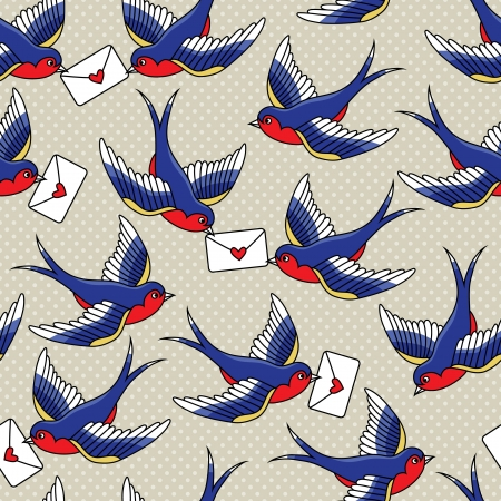 old fashioned: old school pattern with birds and letters
