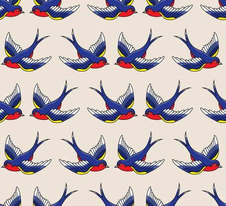 old letters: old school pattern with birds Illustration