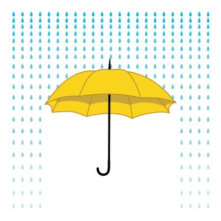 romantic card with umbrella and rain Illustration