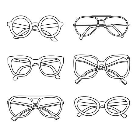 vector black sunglasses icons set isolated on white background Ilustração