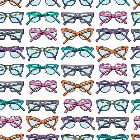 roztomilý: Bezešvé vzor s brýlemi Ilustrace