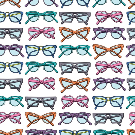 girl wearing glasses: Seamless pattern with glasses