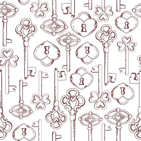 Seamless keys pattern illustration background in vector
