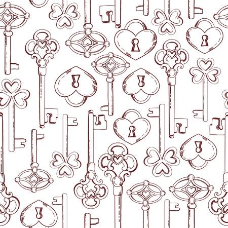 skeleton key: Seamless keys pattern illustration background in vector