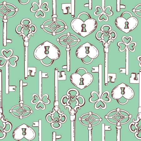 Seamless keys pattern illustration background in vector Vector