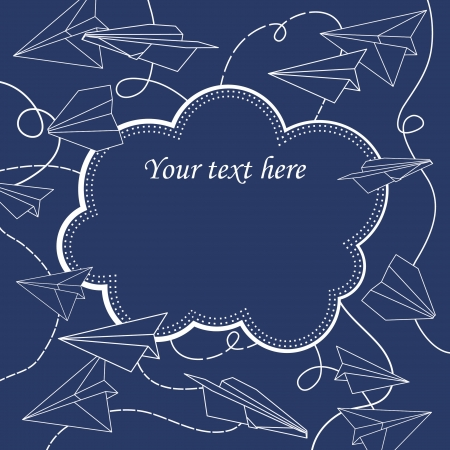 vector frame with paper planes Vector