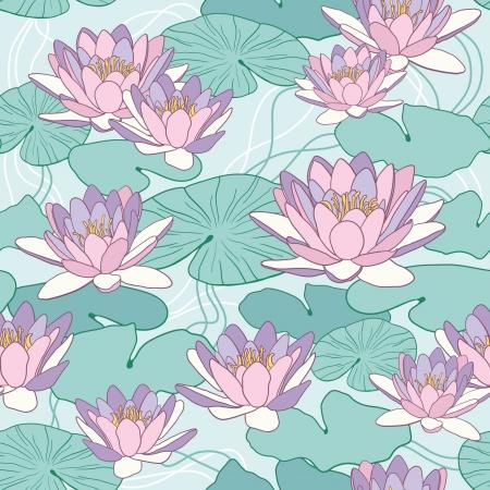 Lotus flowers in seamless pattern Vector