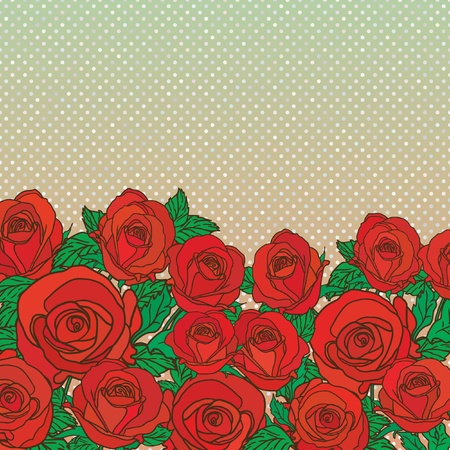rose border: Cute floral seamless pattern background with text place Illustration