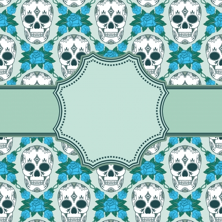 Vector vintage frame with skulls Vector