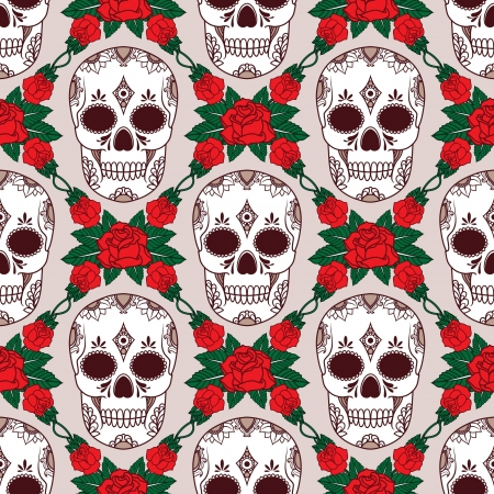 vintage background pattern: vector pattern with skulls