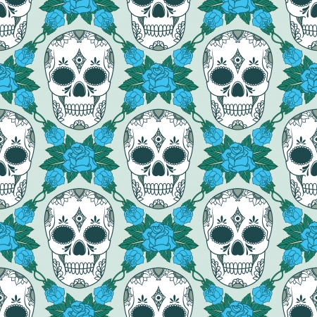 vector pattern with skulls Stock Vector - 21525332