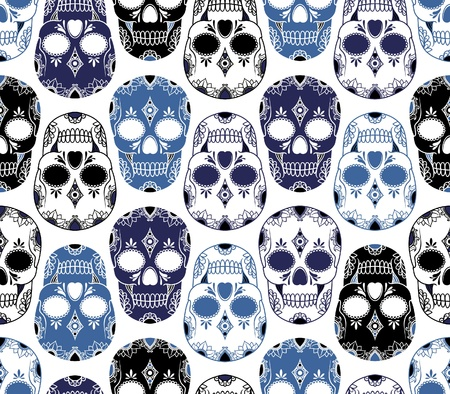 skull and flowers: vector pattern with skulls