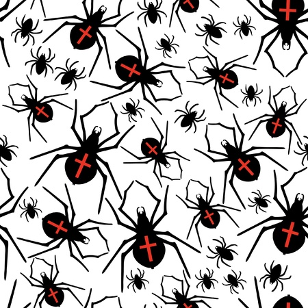 arachnophobia animal bite: Vector spiders seamless pattern Illustration