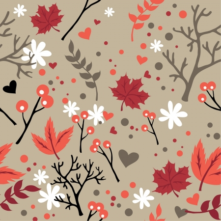 lave: Seamless pattern with leaves flowers, abstract lave and flower texture