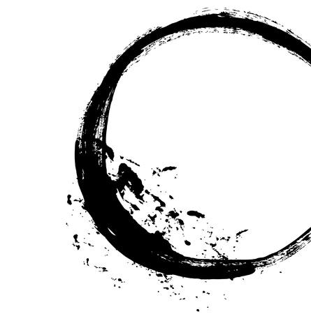 ink sketch: Pennello nero corsa sotto forma di un cerchio disegno creato in inchiostro schizzo tecnica a mano isolato su sfondo bianco