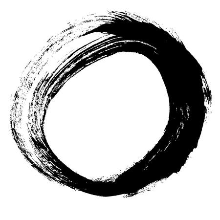 Noir coup de pinceau sous la forme d'un dessin de cercle créé à l'encre croquis technique de la main isolé sur fond blanc Banque d'images - 21525367