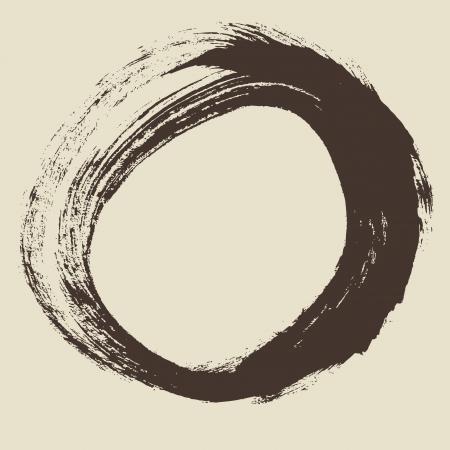 ink sketch: Nero pennellata sotto forma di un disegno cerchio creato nel disegno ad inchiostro tecnica handmade isolato su sfondo bianco
