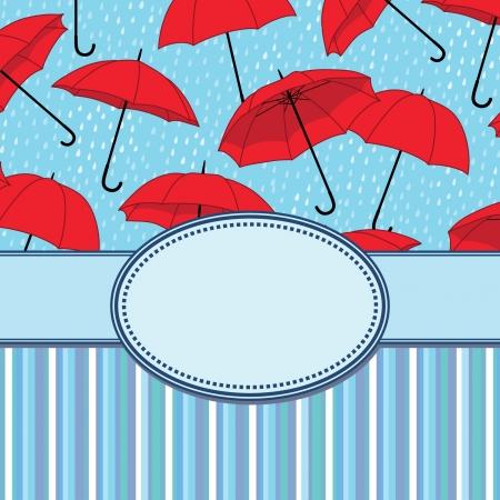 Vecteur cadre vintage avec des parapluies Banque d'images - 21525445
