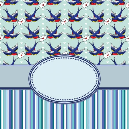 vector vintage frame with birds Vector