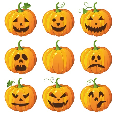 Halloween eingestellt mit Kürbissen
