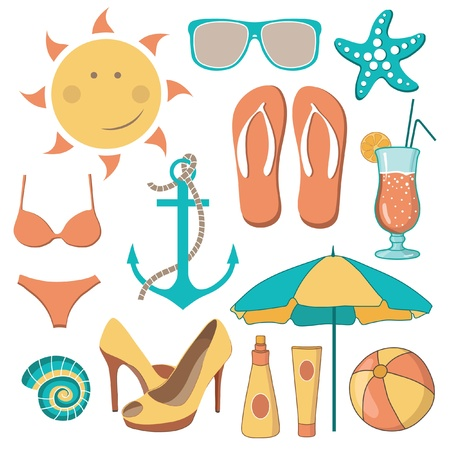 sunglasses beach: Vector illustration of items related to the beach activities Illustration