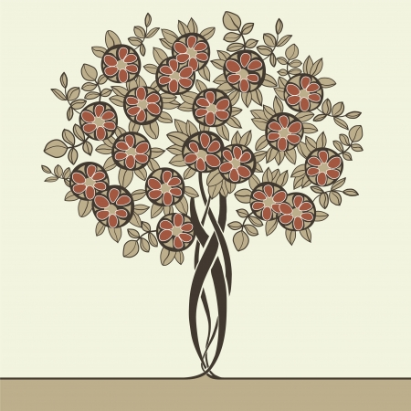 beautiful vector tree drawn in art nouveau style