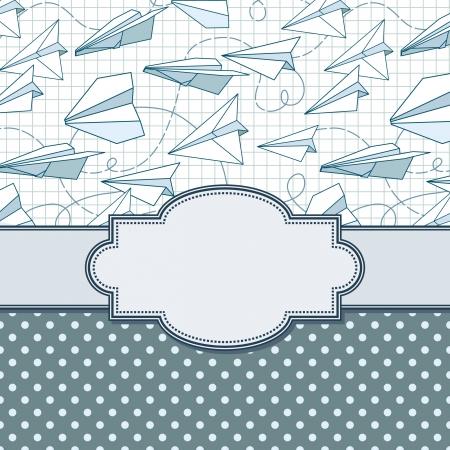 Vecteur cadre vintage avec des avions en papier Banque d'images - 21569436