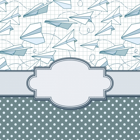 vector vintage frame with paper planes